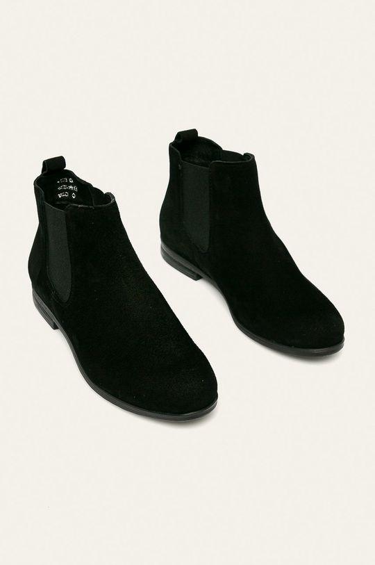 Wojas - Kožené boty s gumou černá