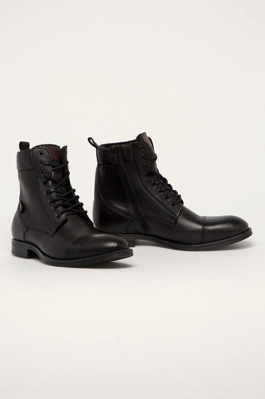 Wojas - Kožené boty černá