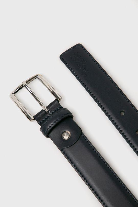 Trussardi Jeans - Kožený pásek námořnická modř