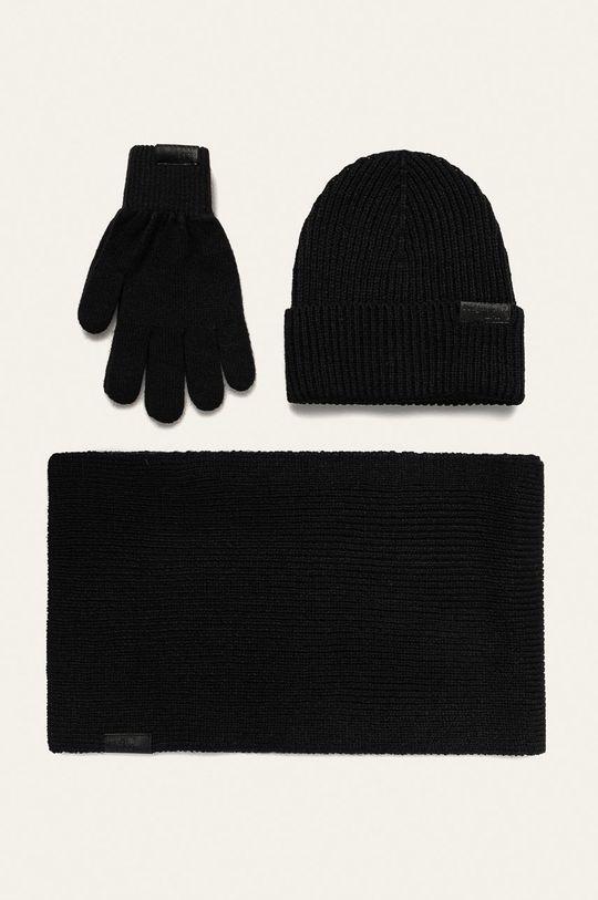 czarny Trussardi Jeans - Czapka, szalik i rękawiczki Męski