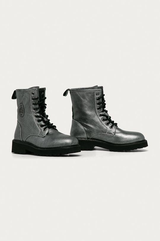 Blauer - Kožené kotníkové boty šedá