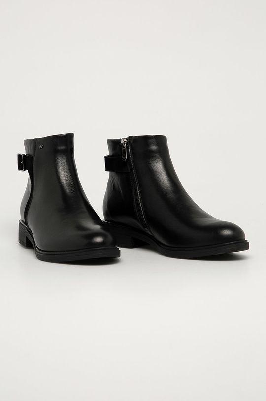 Wojas - Kožené kotníkové boty černá