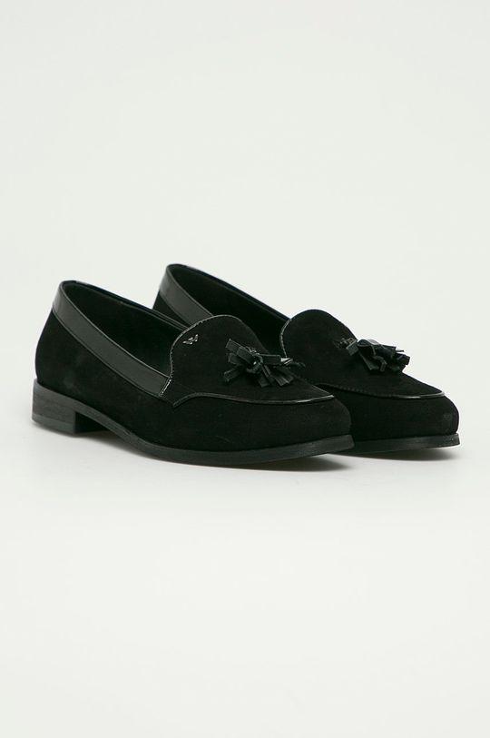 Wojas - Semišové mokasíny černá