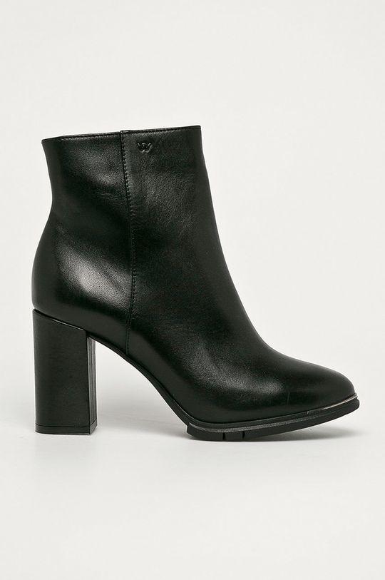 čierna Wojas - Kožené členkové topánky Dámsky