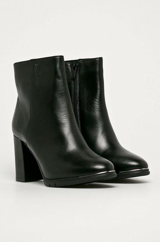 Wojas - Kožené členkové topánky čierna