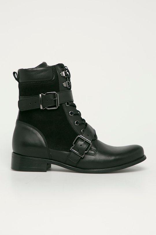 černá Wojas - Kožené kotníkové boty Dámský