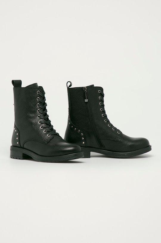 Kazar Studio - Kožené kotníkové boty černá