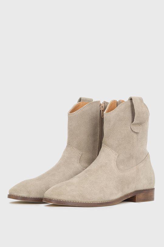 Kazar Studio - Semišové kovbojské boty béžová