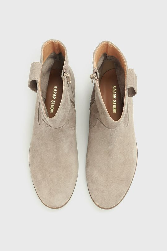 béžová Kazar Studio - Semišové kovbojské boty