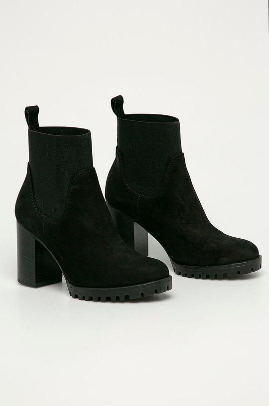 Wojas - Semišové kotníkové boty černá