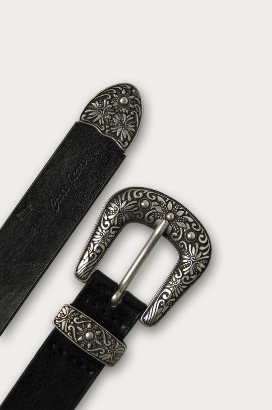 Cross Jeans - Kožený pásek černá