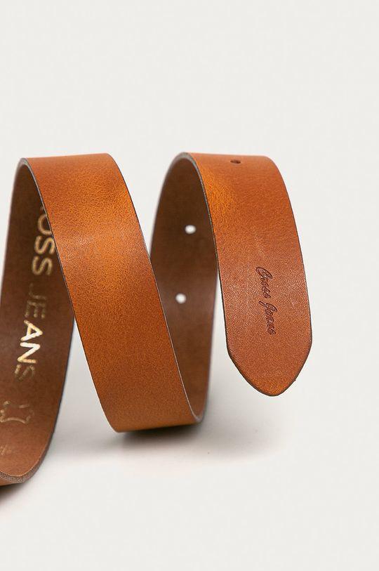 Cross Jeans - Kožený pásek zlatohnědá