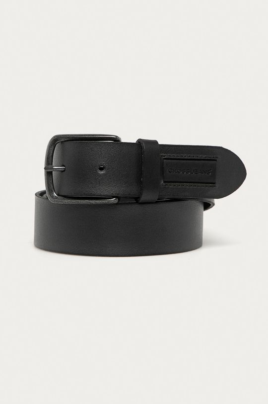 czarny Cross Jeans - Pasek skórzany Męski