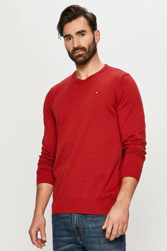 czerwony Cross Jeans - Sweter Męski