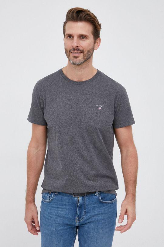 jasny szary Gant - T-shirt bawełniany Męski