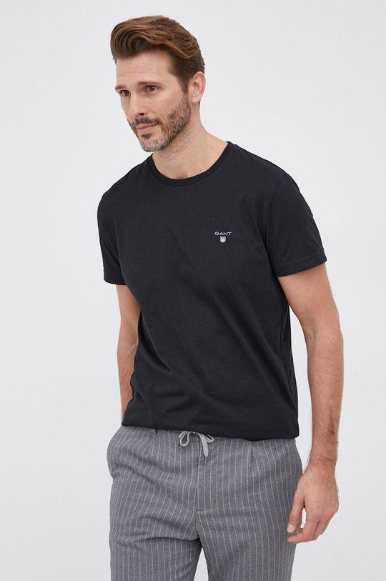 czarny Gant - T-shirt bawełniany Męski