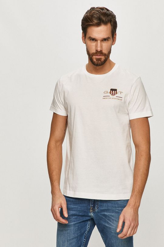 biały Gant - T-shirt Męski