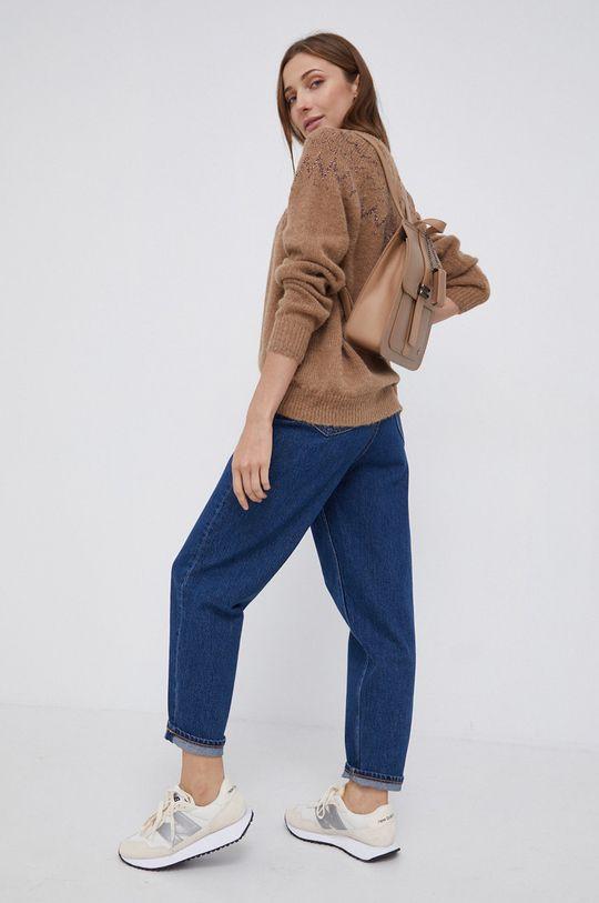 Mos Mosh - Sweter z domieszką wełny złoty brąz