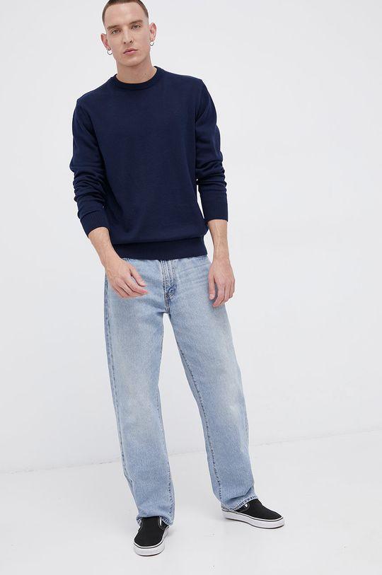 Cross Jeans - Sweter bawełniany granatowy