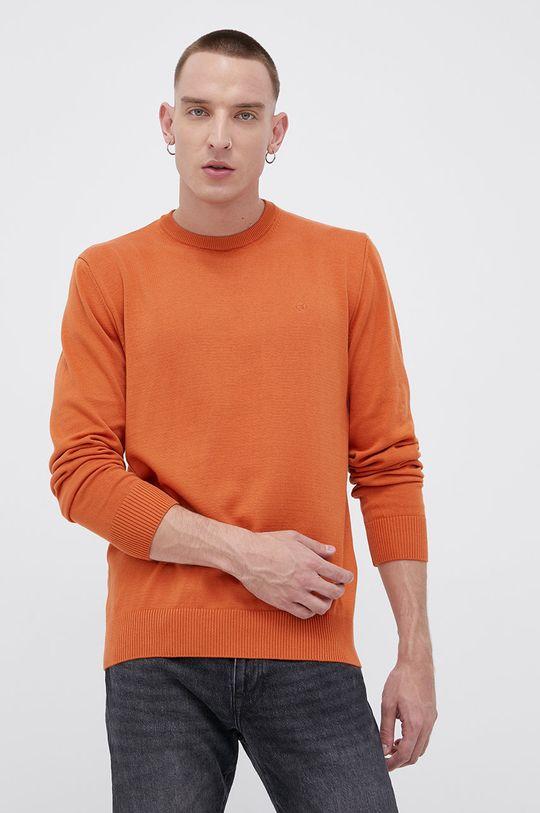 Cross Jeans - Sweter bawełniany pomarańczowy