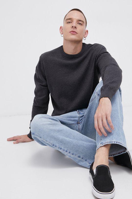 grafitowy Cross Jeans - Sweter bawełniany Męski