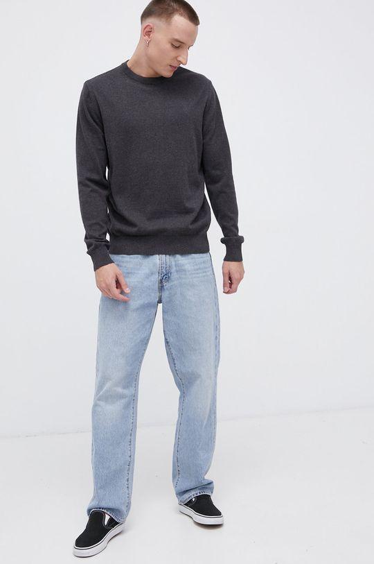 Cross Jeans - Sweter bawełniany grafitowy