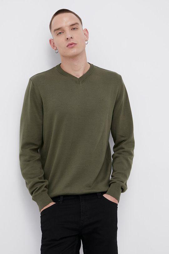 zielony Cross Jeans - Sweter bawełniany Męski