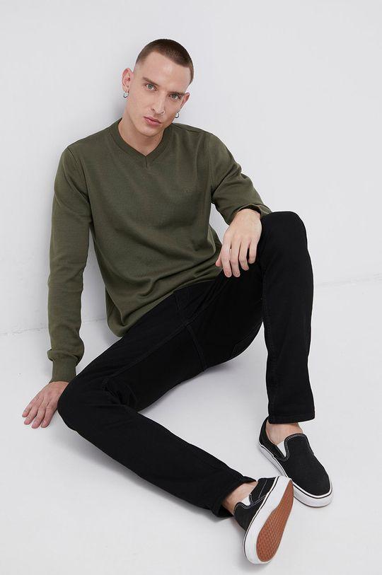 Cross Jeans - Sweter bawełniany zielony