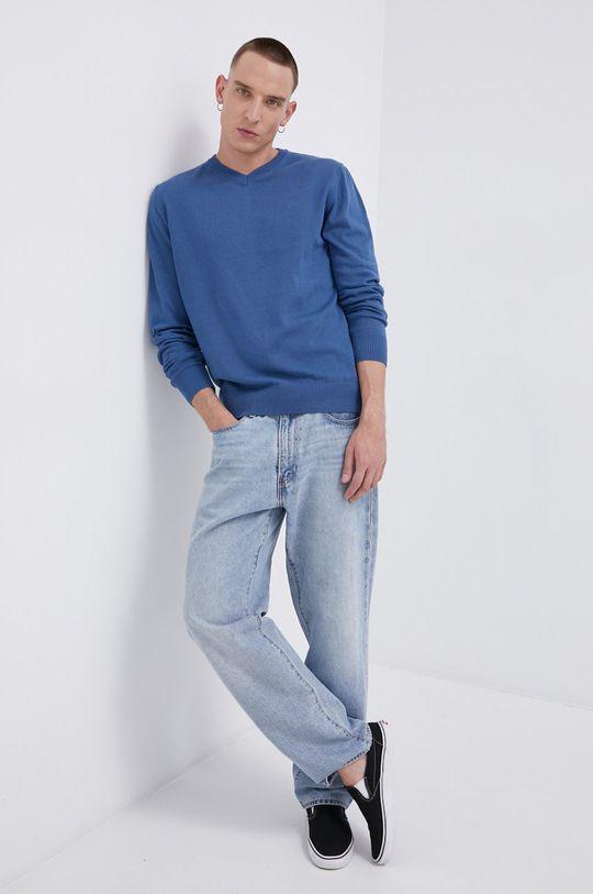 niebieski Cross Jeans - Sweter bawełniany Męski