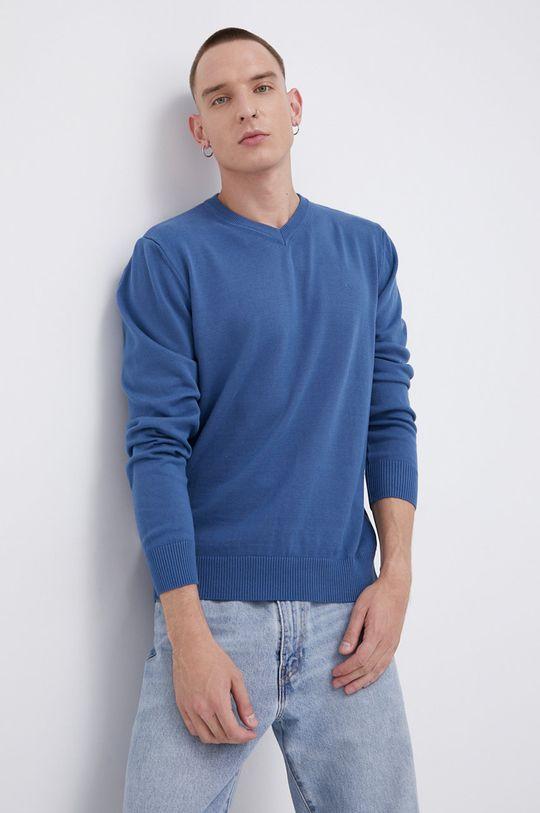 Cross Jeans - Sweter bawełniany niebieski
