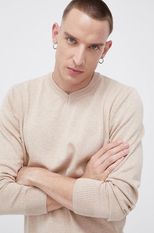 piaskowy Cross Jeans - Sweter bawełniany Męski