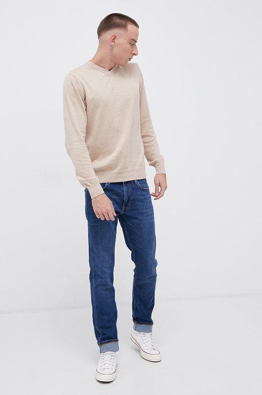 Cross Jeans - Sweter bawełniany piaskowy
