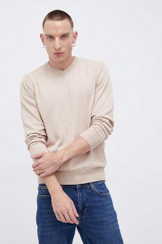 piaskowy Cross Jeans - Sweter bawełniany