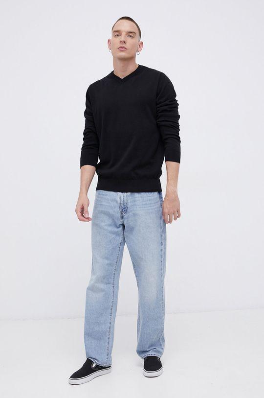 Cross Jeans - Sweter bawełniany czarny