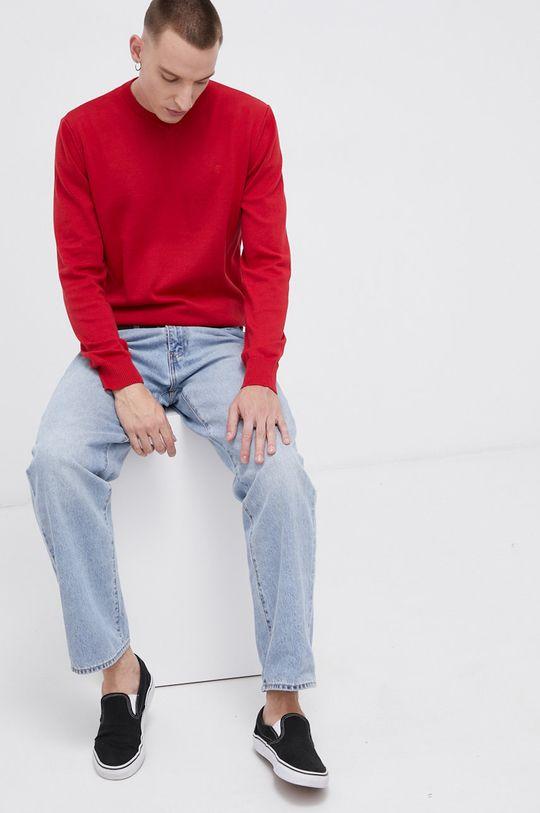 Cross Jeans - Sweter bawełniany czerwony