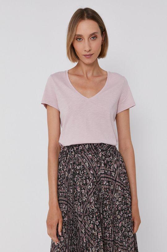 Mos Mosh - T-shirt bawełniany pastelowy różowy