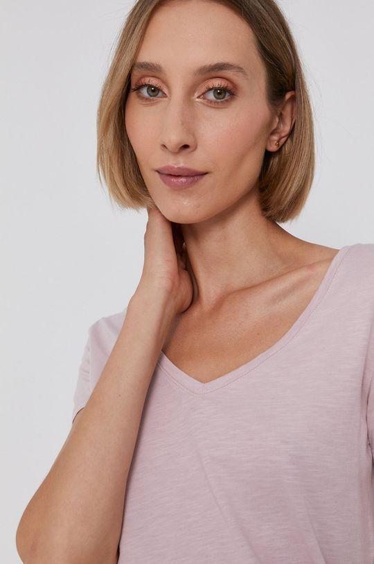 pastelowy różowy Mos Mosh - T-shirt bawełniany