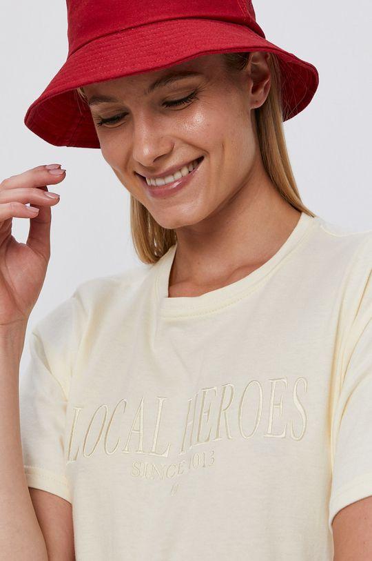 Local Heroes - Bavlnené tričko krémová