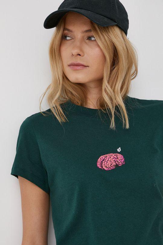 ciemny zielony Volcom - T-shirt bawełniany