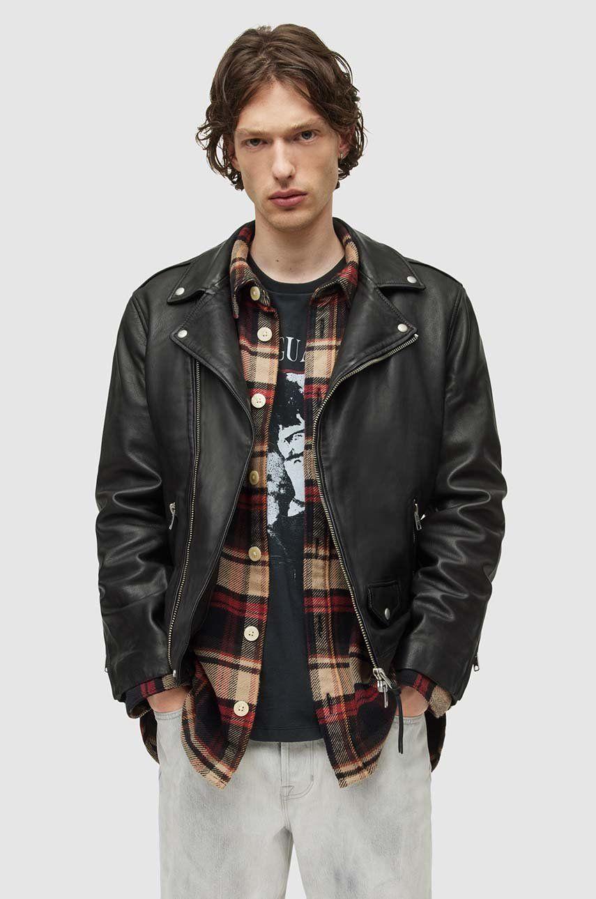 AllSaints - Geaca de piele Milo Biker imagine 2020