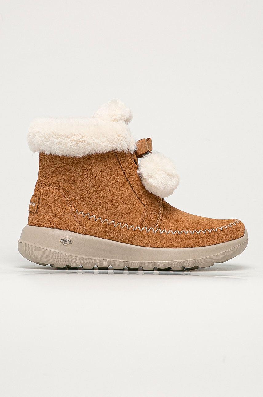 Skechers - Cizme de zapada din piele intoarsa imagine answear.ro