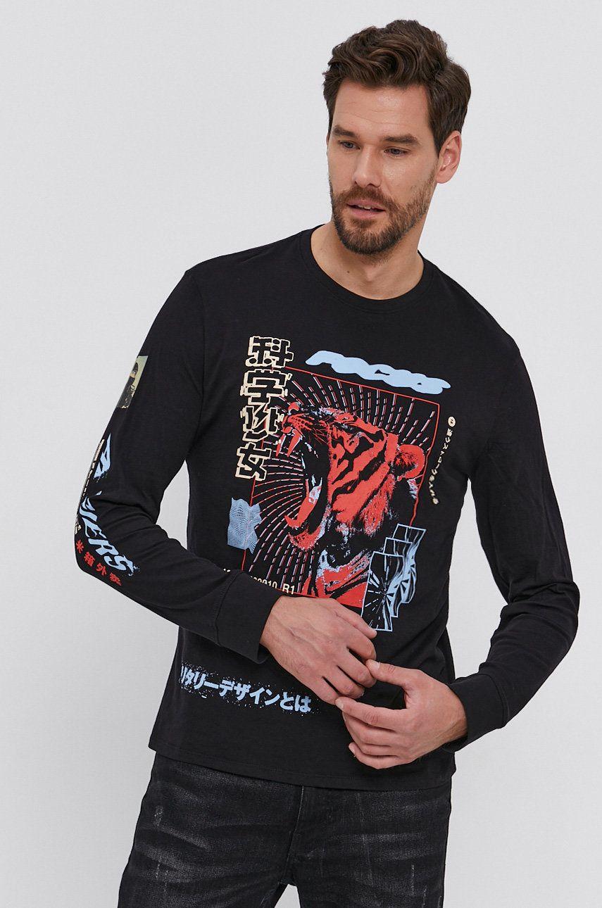 Guess - Bavlnené tričko s dlhým rukávom