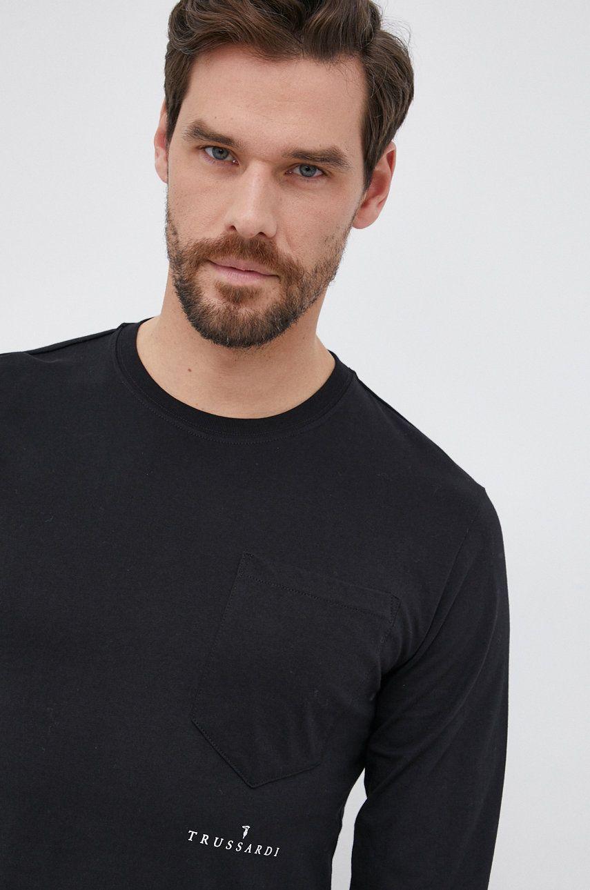 Trussardi - Bavlnené tričko s dlhým rukávom