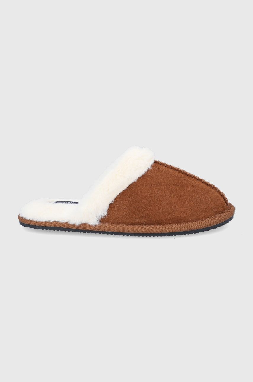 Superdry - Papuci din piele intoarsa