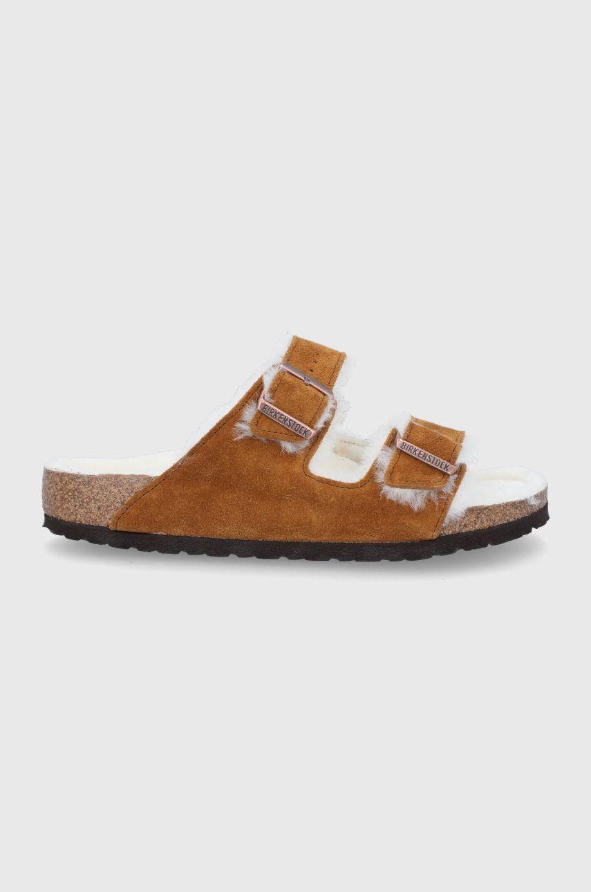 Birkenstock - Papuci din piele Arizona Shearling
