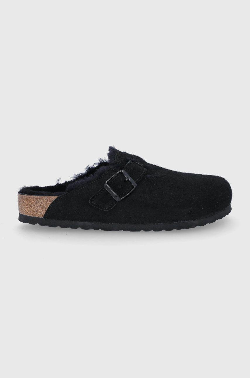 Birkenstock - Papuci din piele intoarsa Boston VL/Fell