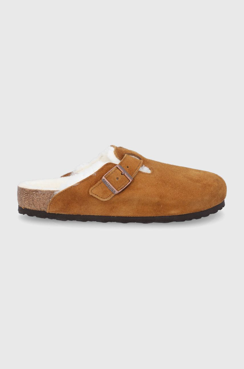 Birkenstock - Papuci din piele intoarsa Boston