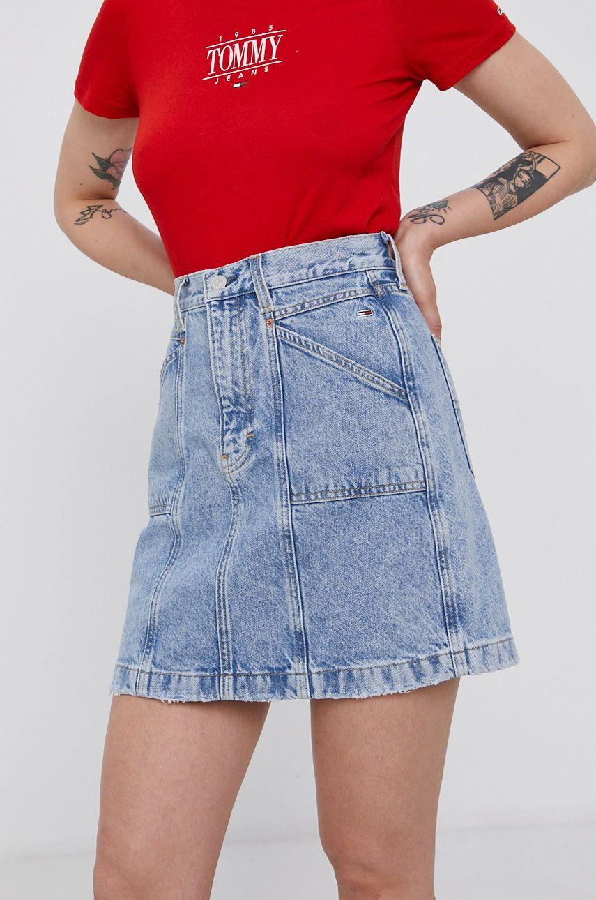 Tommy Jeans - Fusta din bumbac denim