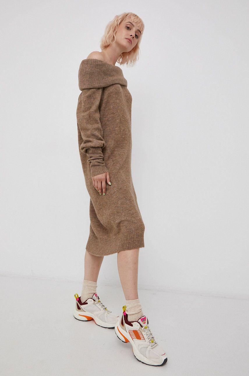 Only - Rochie din amestec de lana