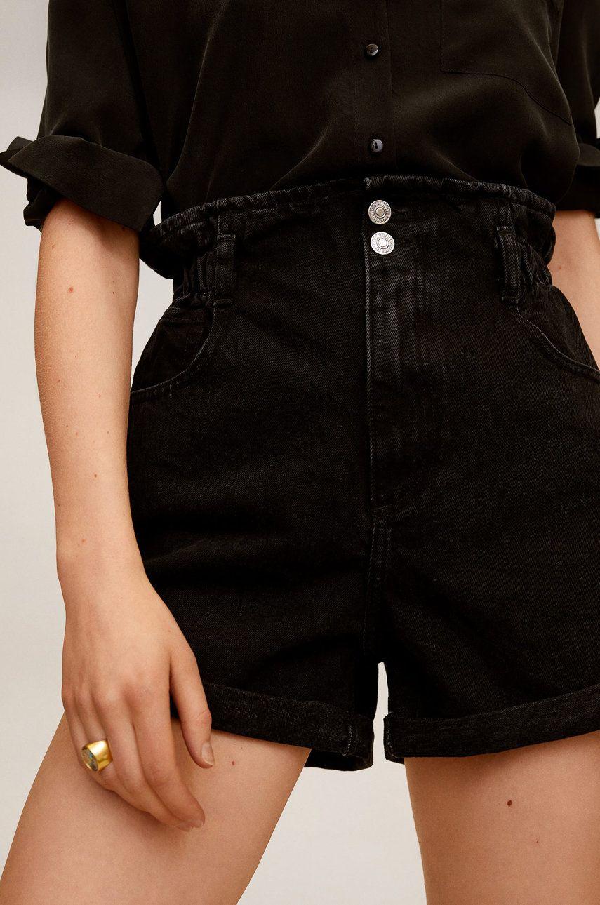 Mango - Pantaloni scurti jeans Paperbag